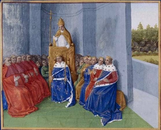 Pope Urban II preaching the First Crusade in the presence of Philip I before the assembly. An illustration from the Grand Chronicle of France, illuminated by Jean Fouquet, Tours, c. 1455-1460
