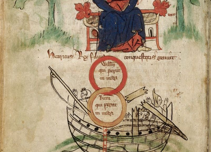 Early 14th century depiction of Henry I and the sinking of the White Ship in 1120. Royal MS 20 A II. (The British Library).