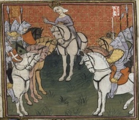 Philippa de Hainaut and her army, 15th c. (Bibliothèque Nationale de France)