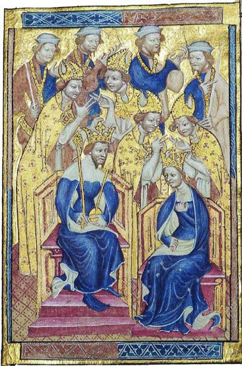 The Coronation of Anne of Bohemia and Richard II in the Liber Regalis (Wikipedia).