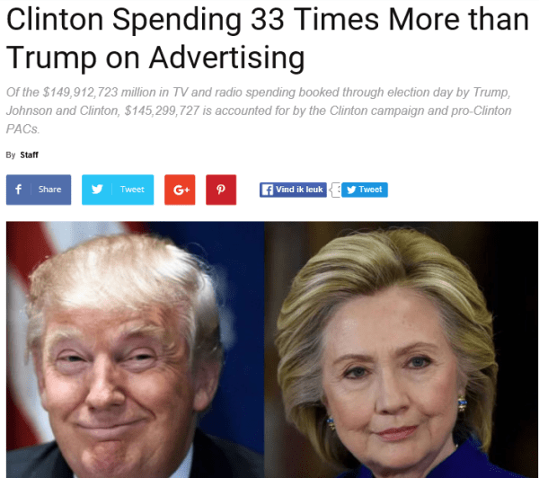 33 times more spending trump and hillary