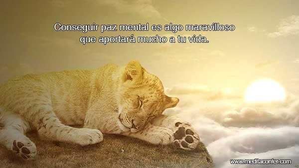 Conseguir paz mental te aportará mucho a la vida.