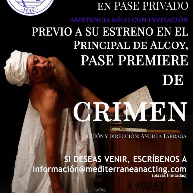 CRIMEN, el thriller policíaco de la Compañía Identitas en pase privado en la SALA MAC de Mediterranean Acting