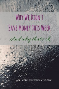 Why We Didn't Save Money This Week: And why that's ok