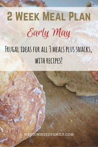 2 Week Meal Plan for Early May. Get frugal ideas for all meals and snacks. Includes recipes!