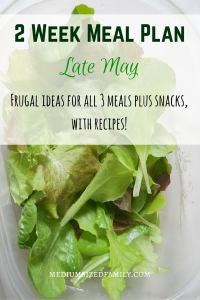 2 Week Meal Plan for late May. Get frugal menu planning ideas for all meals and snacks. Includes recipes!