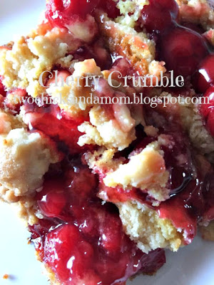 Easy cherry crumble, or cherry dump cake recipe. Find this and other great ideas for your summer potluck here.