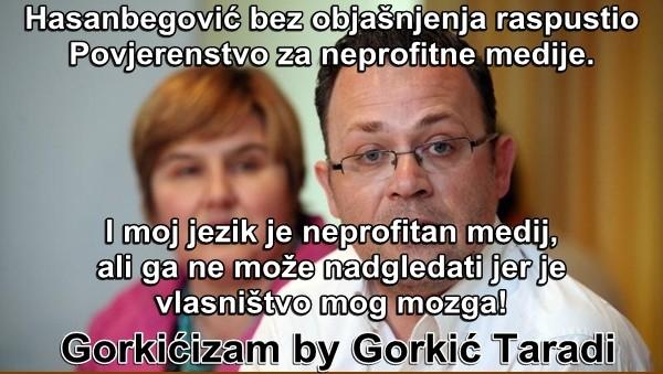 Hasanbegović bez objašnjenja raspustio  Povjerenstvo za neprofitne medije.     I moj jezik je neprofitan medij, ali ga ne može nadgledati jer je  vlasništvo mog mozga!