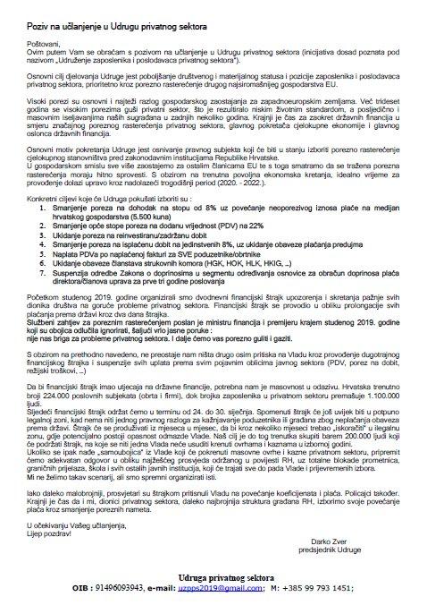 Poziv na učlanjenje u Udrugu privatnog sektora