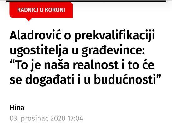 Davor Nađi o prekvalifikaciji ugostitelja u građevinarce koju preporuča ministar Aladrović
