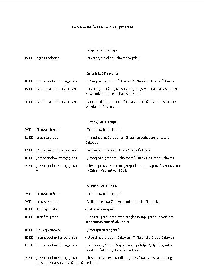 Program obilježavanja Dana Grada Čakovca