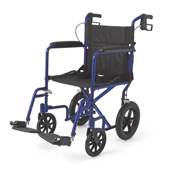 """Medline MDS808210ABE Aluminum Transport Chair with 12"""" Wheels, Blue"""