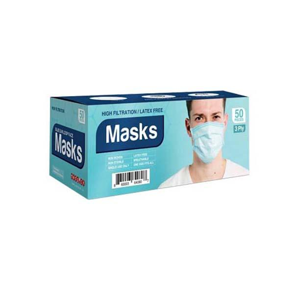 3 ply disposable non woven surgical mask, Pack of 50