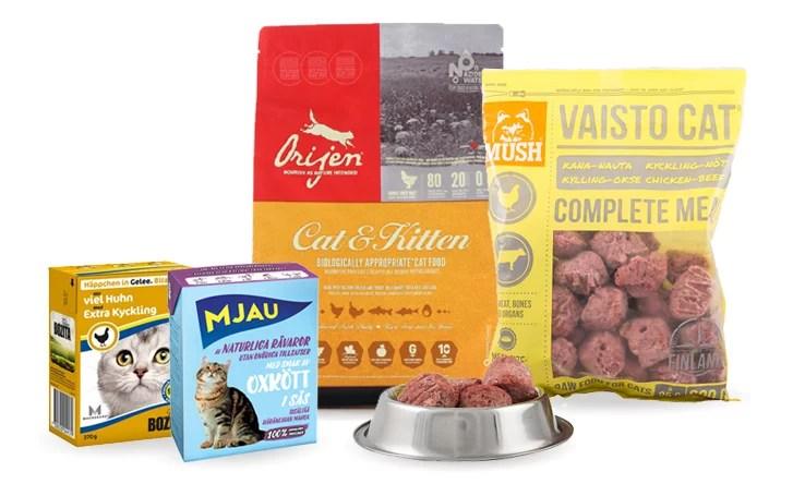Kattmat i kartong, frysta barf-bullar och torrfoder utan spannmål