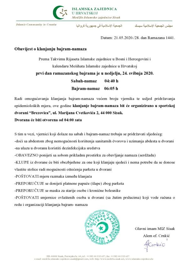 """Obavijest o klanjanju bajram-namaza u nedjelju (24.05.2020.) u sportskoj dvorani """"Brezovica"""" Sisak"""