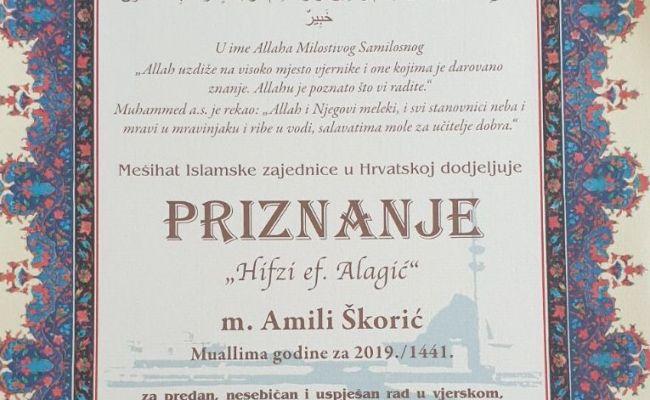 """Amila Škorić, proglašena """"Muallimom godine za 2019./1441."""" kroz Mešihatovo priznanje """"Hifzi ef. Alagić"""""""