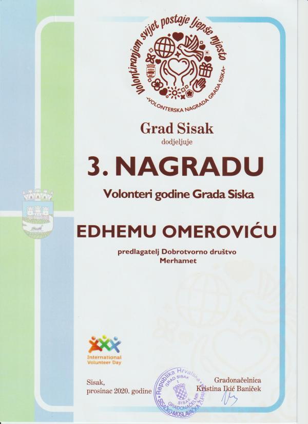 """Edhem Omerović, dobitnik 3. nagrade u kategoriji """"Volonter/ka godine"""" za 2020. godinu."""