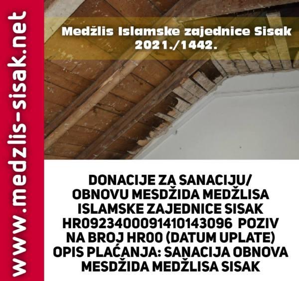 Donacije za sanaciju i obnovu mesdžida/Medžlisa u Sisku