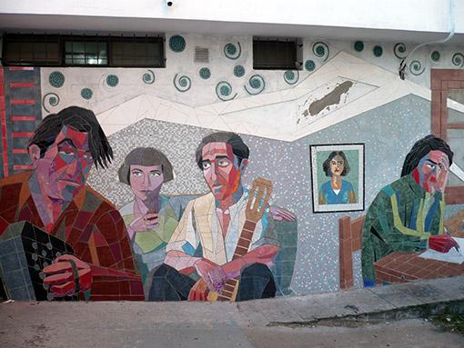 ein Wandmosaik am Zollgebäude in Boca
