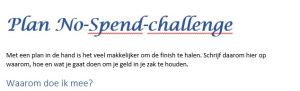 Voorbeeld plan no-spend-challenge