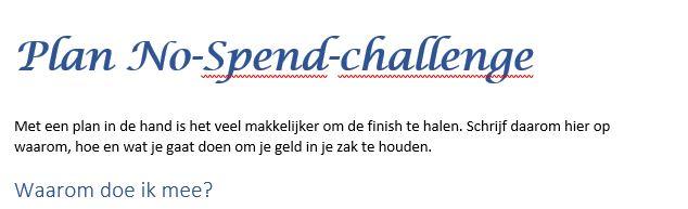 Voorbeeld plan no-spend-challenge
