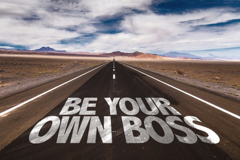 Voor jezelf beginnen - be your own boss sign on a road