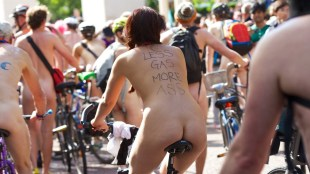 Mandatory Credit: Photo by Andre Camara/REX (3825763e) World Naked Bike Ride World Naked Bike Ride, London, Britain - 14 Jun 2014 Hundreds of people riding their bikes naked in London as protest against motor vehicles.