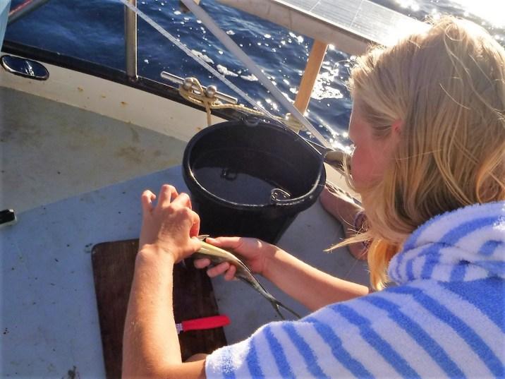 Vera maakt voor het eerst een vis schoon