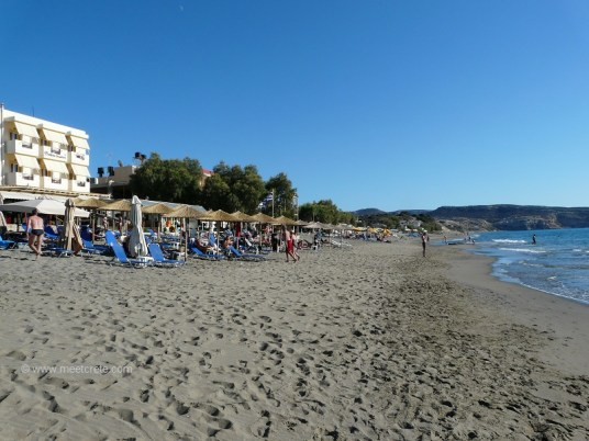 The Komos beach at the Kalamaki settlement in Crete