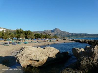 At the northern bay of Falasarna, rocks form a natural swimming pool perfect for small children