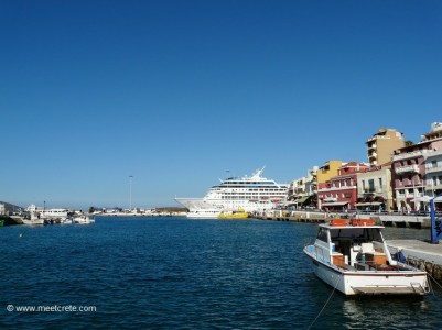 Cruise ship in the harbour of Agios Nikolaos Crete