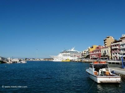 Cruise ship in the harbour of Agios Nikolaos Crete
