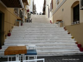 A lot of stairs in the old town of Agios Nikolaos Crete
