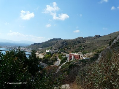 In the background Kolymbari village, in the middle the monastery Panagia Odigitria Gonia, in the foreground the orthodox Academy of Crete