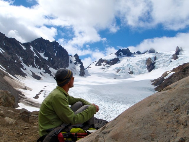 photo of author beside the Blue Glacier