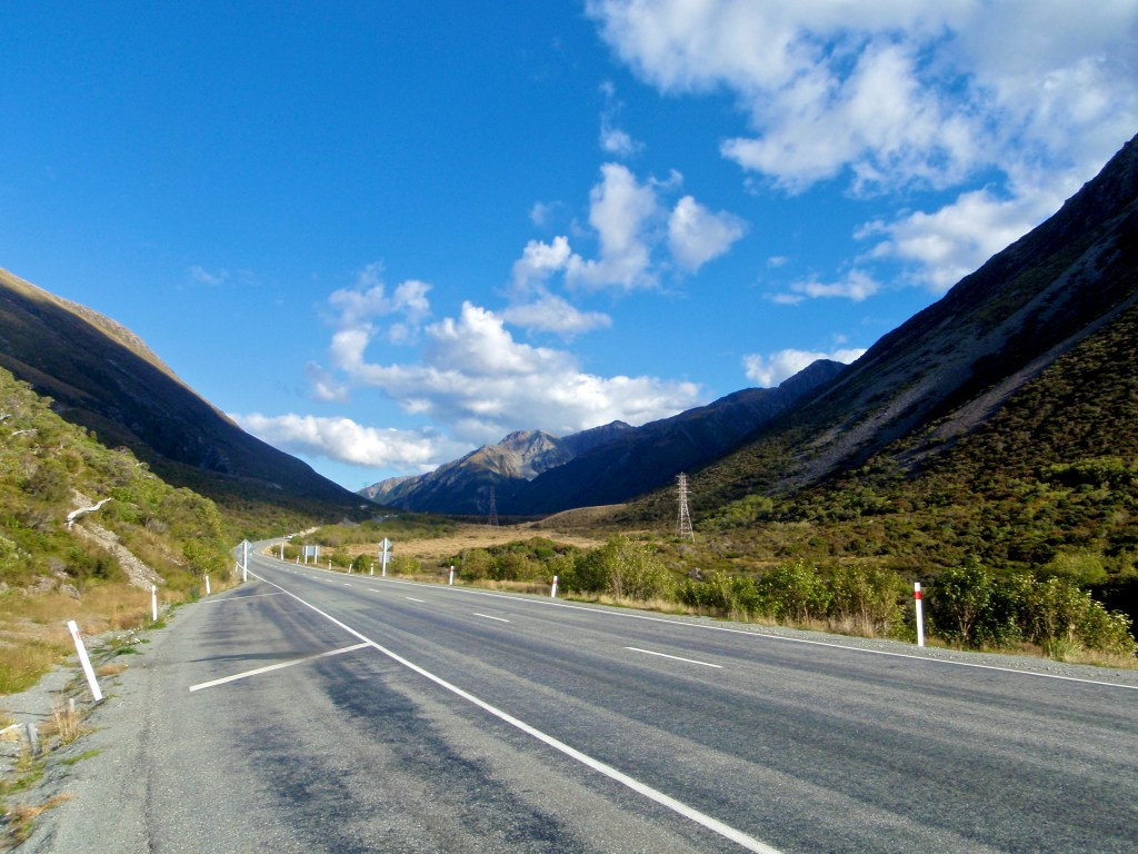 Empty road on New Zealand's South Island