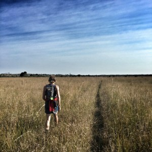 Runner crossing a Fakahatchee prairie