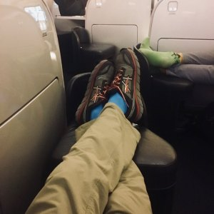 Business class seat in lounger mode