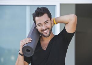 man, yoga, mat, happy, healthy, fit, smile