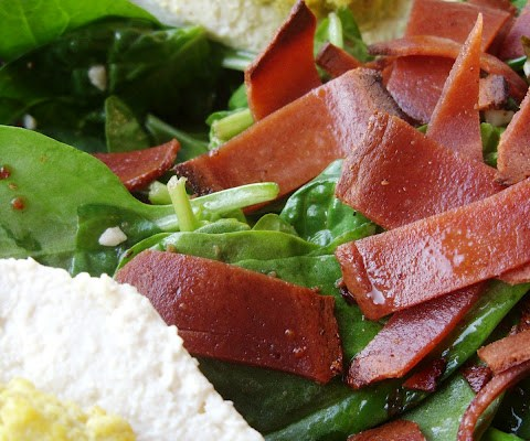 The Betty Crocker Project : Bacon & Spinach Salad featuring The Vegan Hard-Boiled Egg
