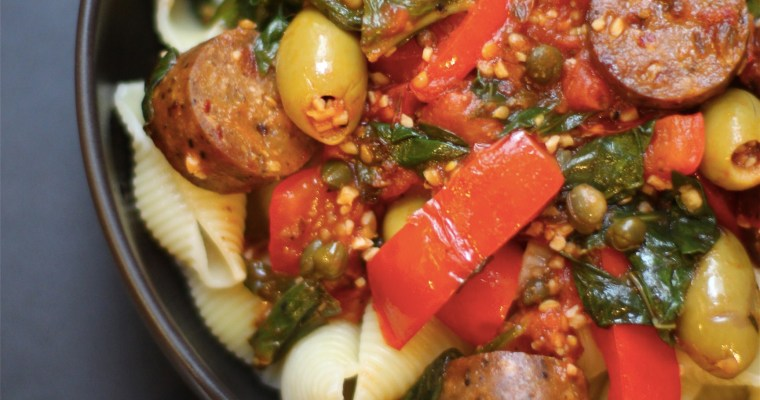 Pasta alla Puttanesca with Vegan Sausage – not your everyday red sauce