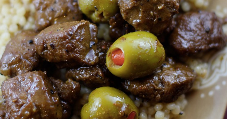 Martini Beef-less Tips over Lemon Pepper Pearl Couscous