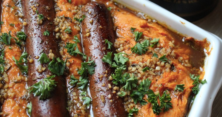 Belgian Vegan Sweet Potato Stoemp with Sausages