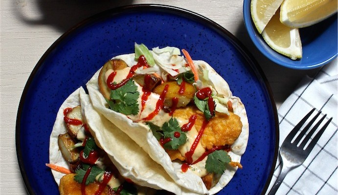 Vegan Fish & Chips Tacos with Sriracha Tartar Sauce
