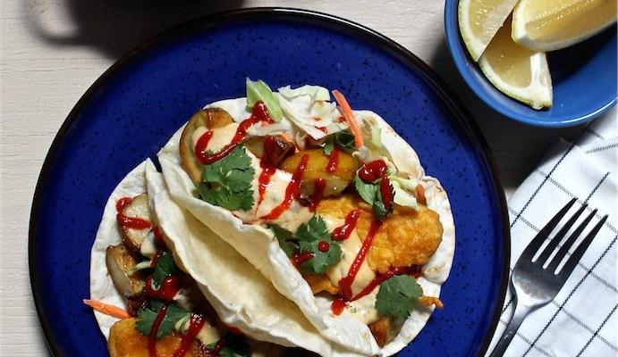 Vegan Fish & Chips Tacos with Sriracha Tartar Sauce