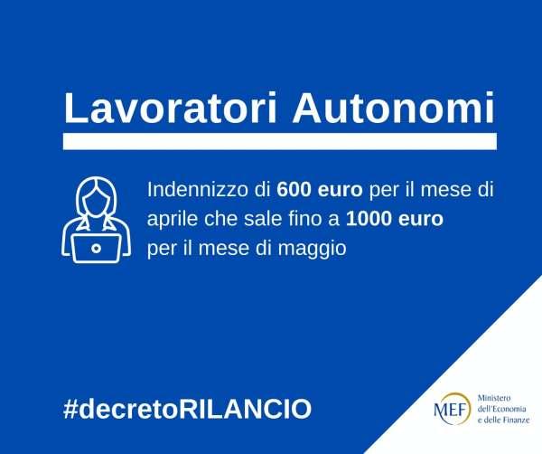"""Card Lavoratori autonomi: """"Indennizzo di 600 euro per aprile 2020 che sale fino a 1000 euro per il mese di maggio"""""""