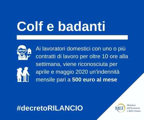 """Card Colf e badanti: """"Ai lavoratori domestici con uno o più contratti di lavoro per oltre 10 ore alla settimana, viene riconosciuta per aprile e maggio 2020 un'indennità mensile pari a 500 euro"""""""