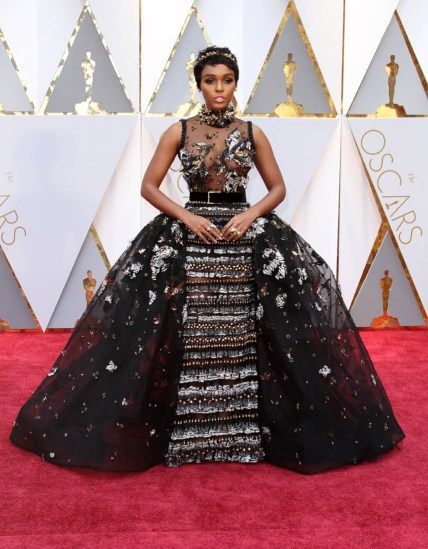 Janelle Monae at the 2017 Oscars via Pinterest