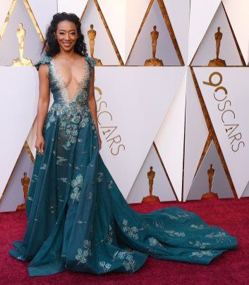 Betty Gabriel in Tony Ward couture via Getty Images