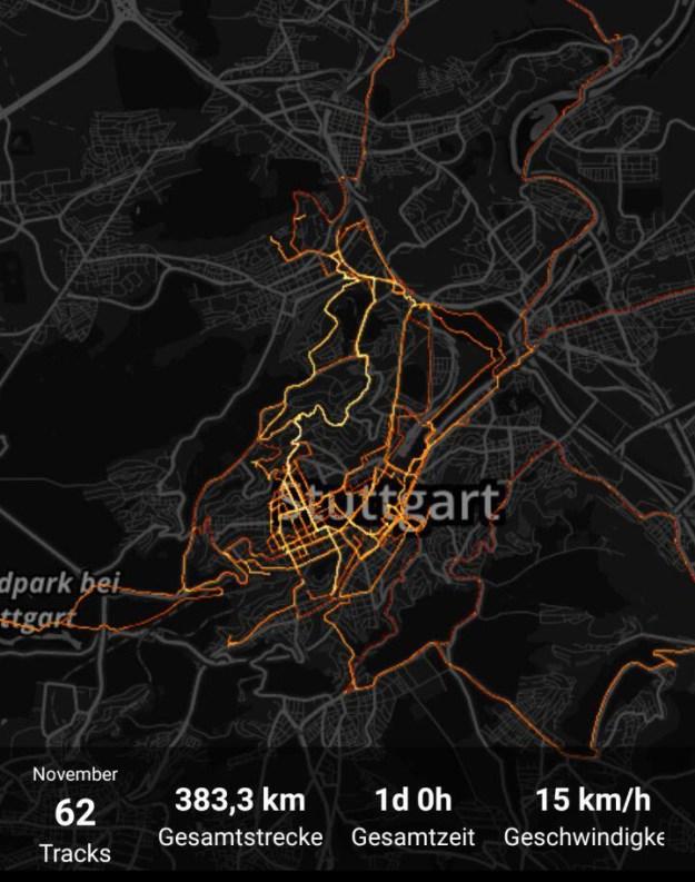 Meine Fahrrad-Heatmap im November